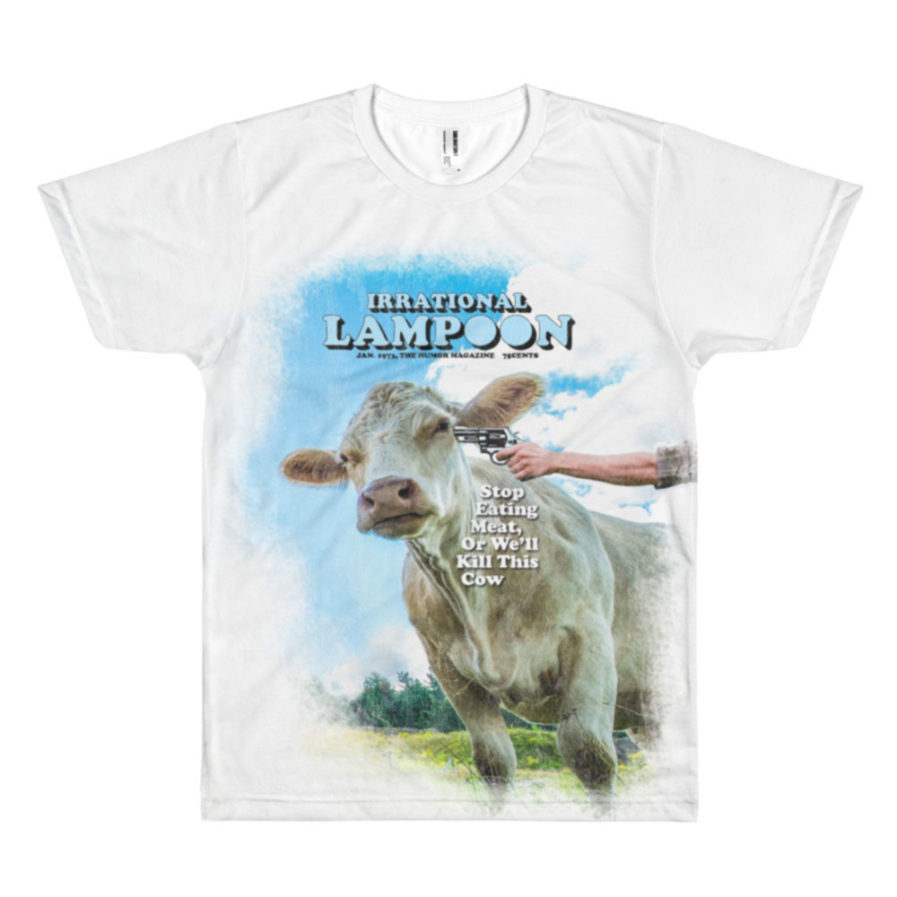Irrational Lampoon T-shirt, Stop Eating Meat, or We'll Kill This Cow. All-over print tee. Frong Woot