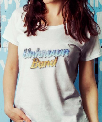 Unknown band scoopneck t-shirt white
