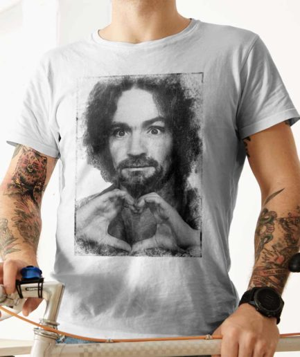 Charles Manson mugshot shows love T-shirt. Frong Woot