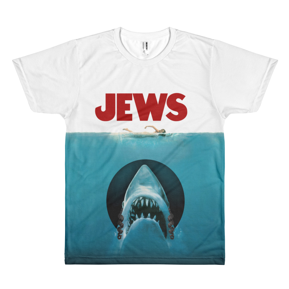 JEWS tee, JAWS movie parody. All-over print. Unisex. Frong Woot