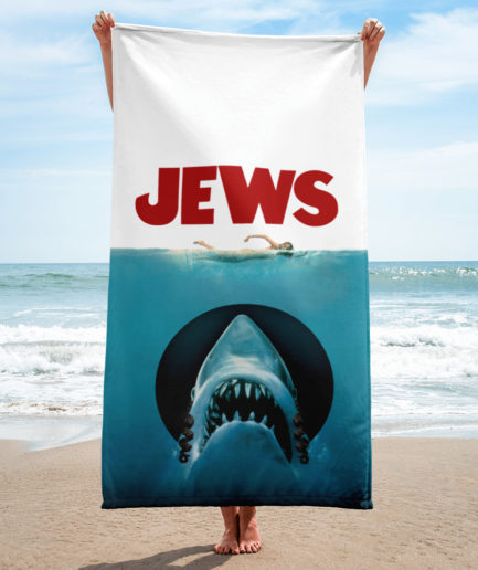 JEWS towel, JAWS movie parody.