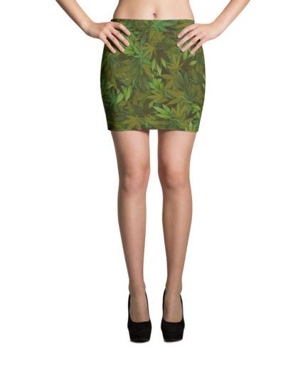 Marijuana leaf camouflage mini skirt - Front view.