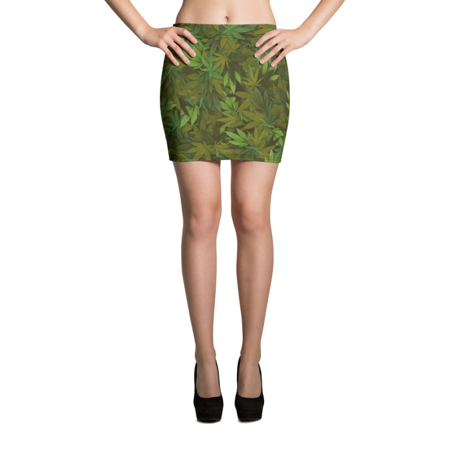 Marijuana leaf camouflage mini skirt - Front view.