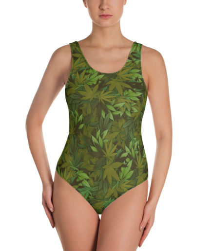 Cannabis - Weed leaf camouflage one-piece swimsuit - Front view