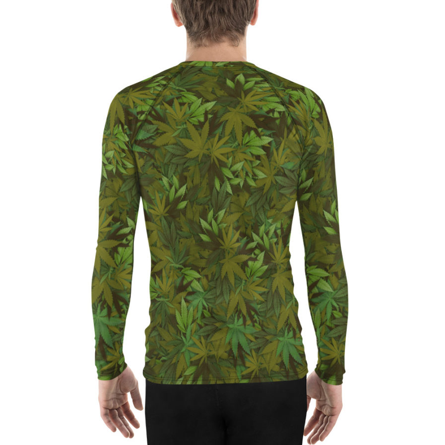 Cannabis - weed leaf camouflage rash guard for man, back view