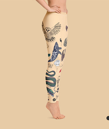 Woman's tattooed leggings in skin color. Right view. Frong Woot