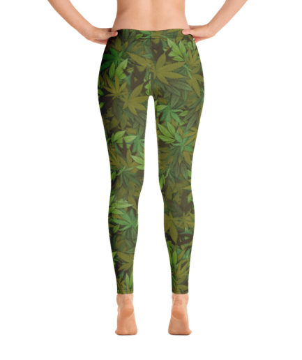 Cannabis - Weed leaf camouflage ladies' leggings - Back view. Frong Woot