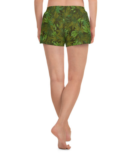 Women's cannabis leaf camouflage athletic shorts. Back view