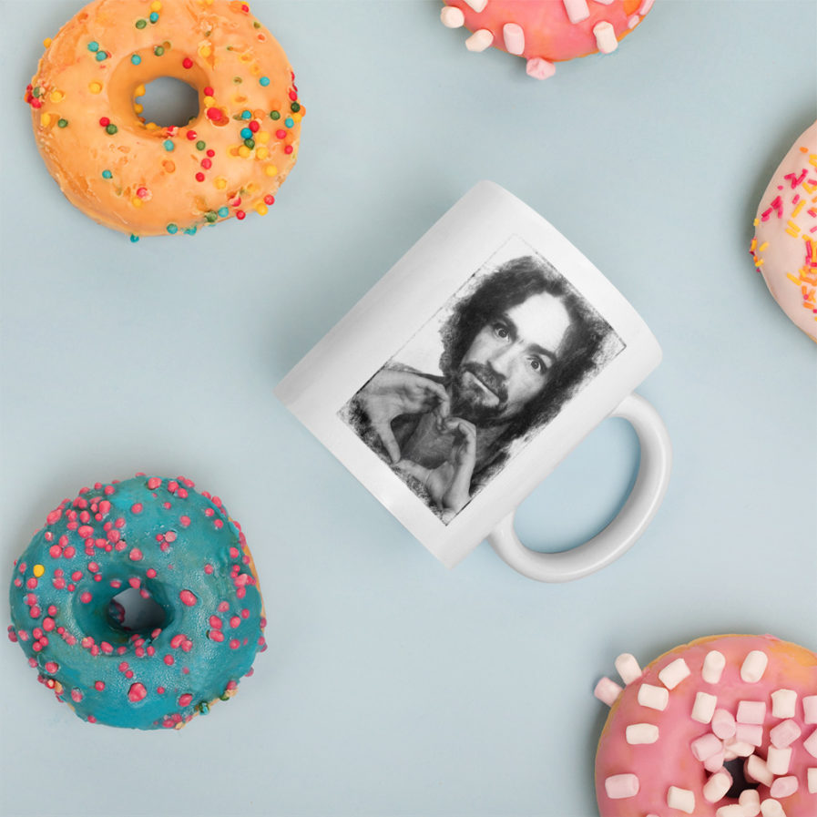 Charles Manson shows Love - Mug mugshot