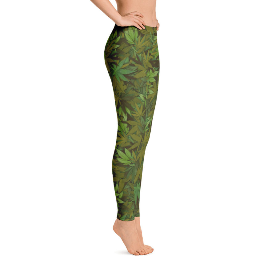 Cannabis - Weed leaf camouflage ladies' leggings - Side view. Frong Woot