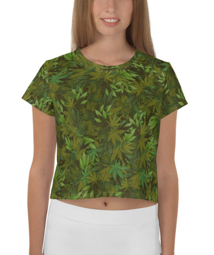 Cannabis - weed leaf camouflage crop tee - Front