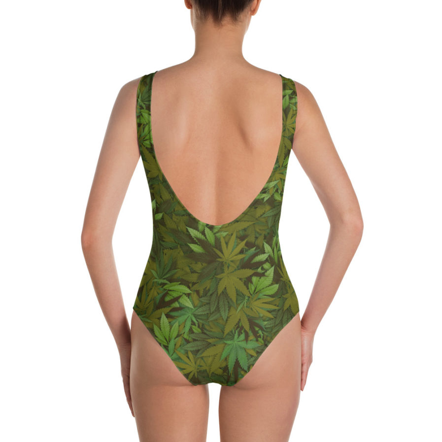 Cannabis - Weed leaf camouflage one-piece swimsuit - Back view