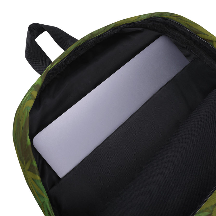 Cannabis - weed leaf Camouflage Backpack. Inside View