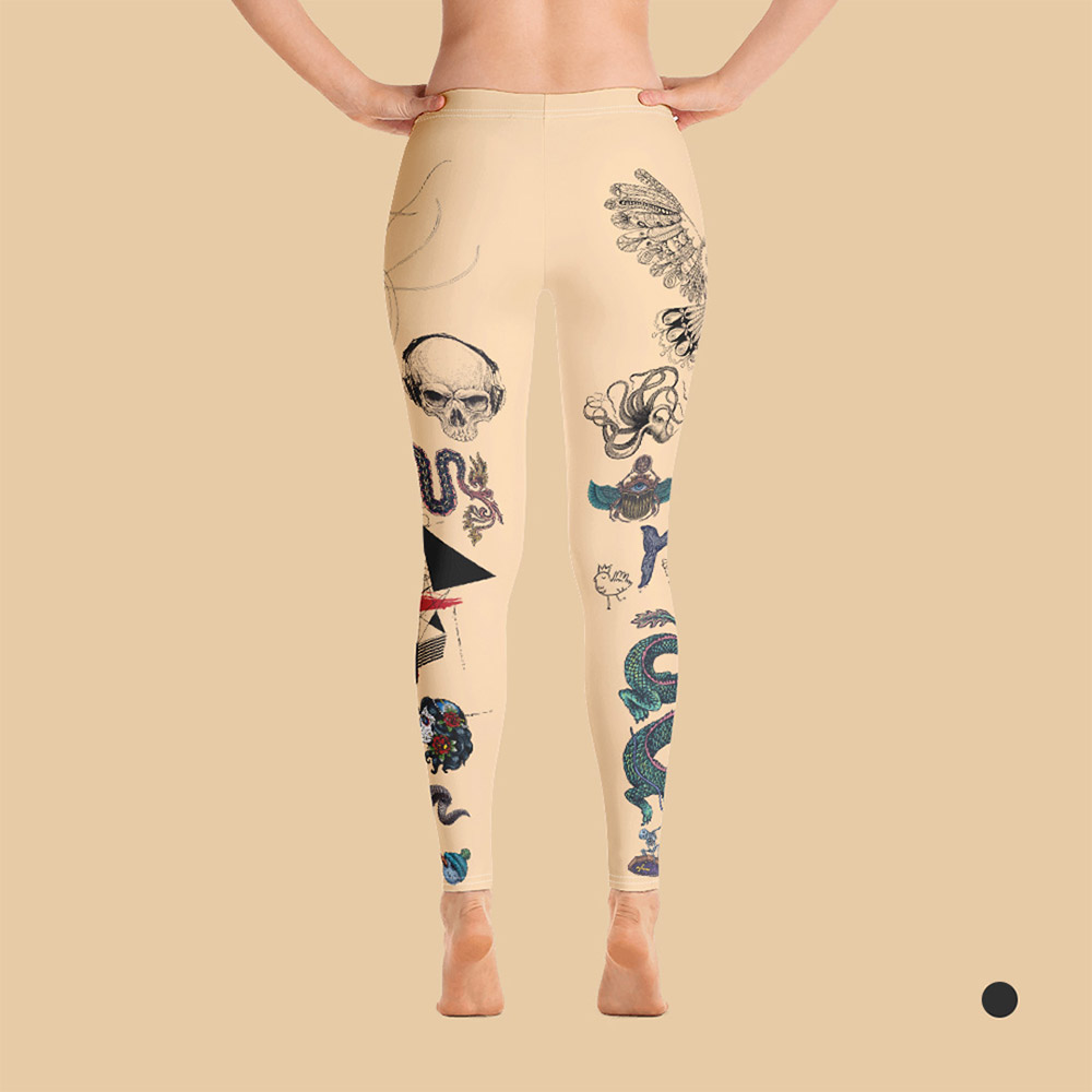 Woman's tattooed leggings in skin color. Back view