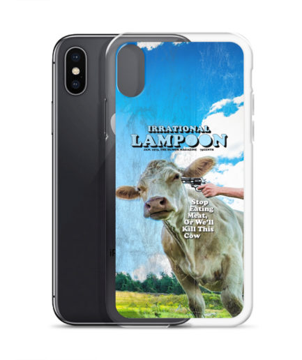 Irrational Lampoon iPhone Case, Stop Eating Meat, or We'll Kill This Cow. Frong Woot