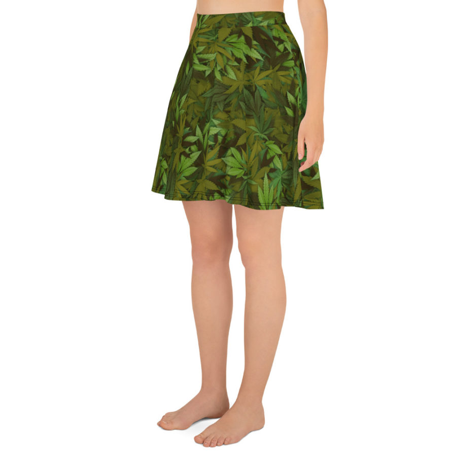 Cannabis - Weed leaf camouflage skater skirt - Side view. Frong Woot
