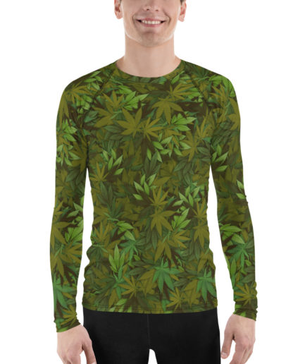 Cannabis - weed leaf camouflage rash guard for man, front view. Frong Woot