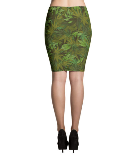 Marijuana leaf camouflage pencil skirt - Back view. Frong Woot