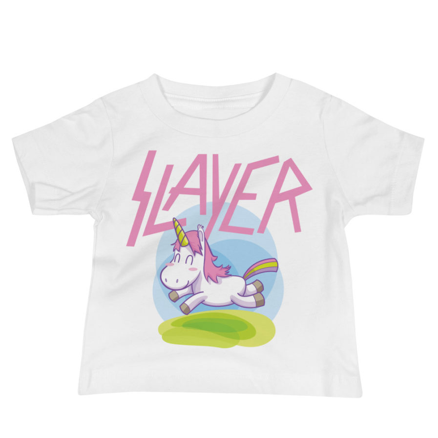 Slayer Unicorn Baby Jersey Tee - White. Frong Woot