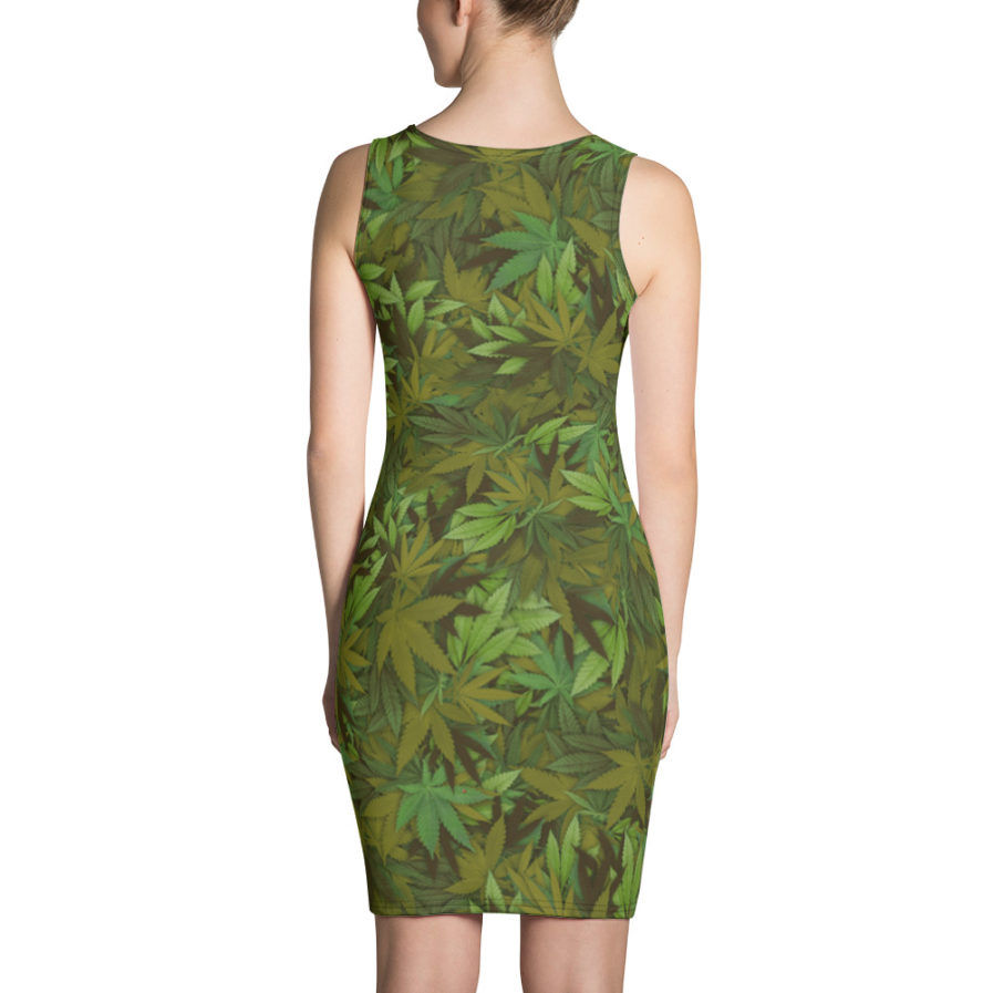 Cannabis - Weed leaf camouflage cut and sew dress - Back view