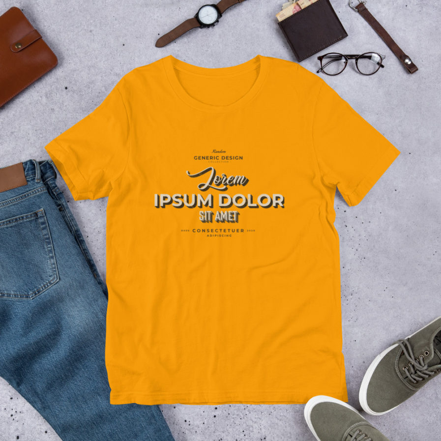 Lorem Ipsum T-shirt, Man, woman, unisex tee in yellow color.