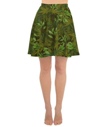 Cannabis - Weed leaf camouflage skater skirt - Front view.