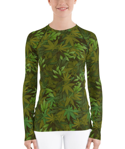 Cannabis - weed leaf camouflage rash guard for woman, front view. Frong Woot