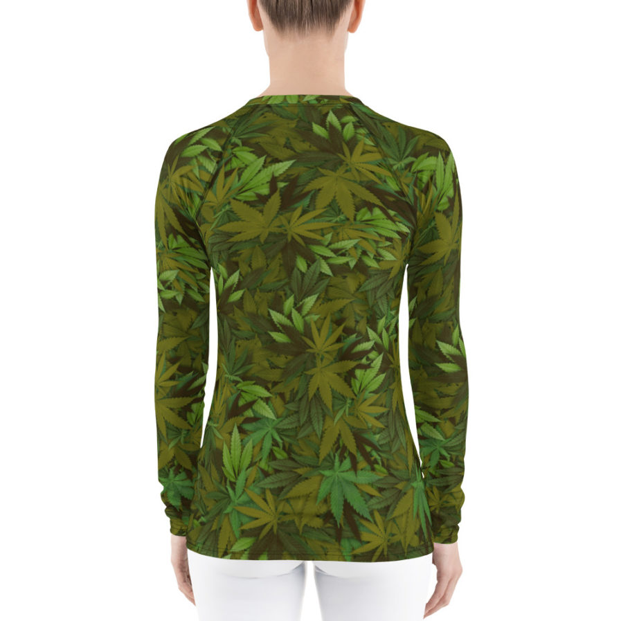 Cannabis - weed leaf camouflage rash guard for woman, Back view
