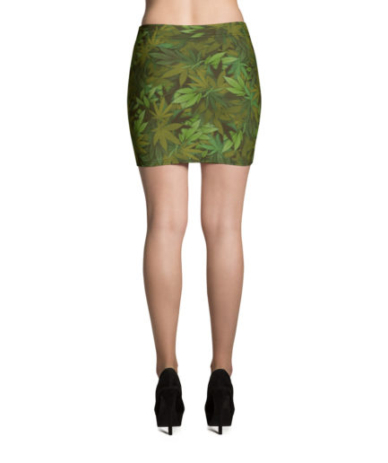 Marijuana leaf camouflage mini skirt - Back view. Frong Woot