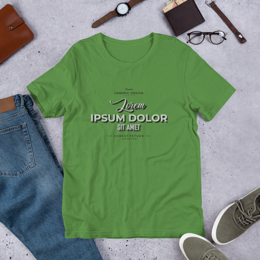 Lorem Ipsum T-shirt, Man, woman, unisex tee in leaf color.