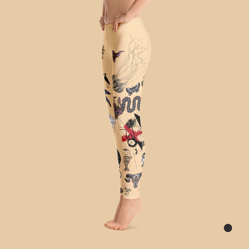 Woman's tattooed leggings in skin color. Left view