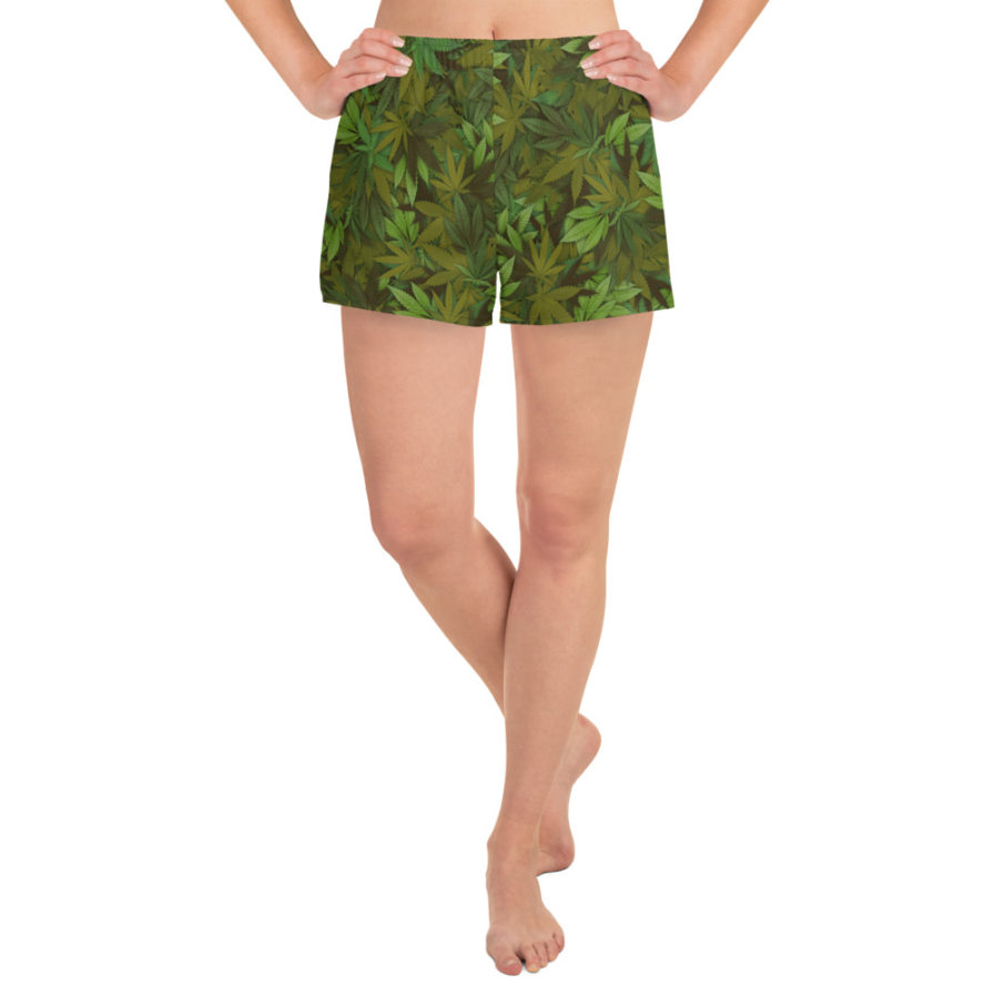 Women's cannabis leaf camouflage athletic shorts. Front view. Frong Woot