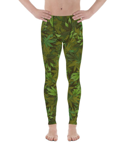 Weed Camouflage Men's Leggings Front View. Frong Woot