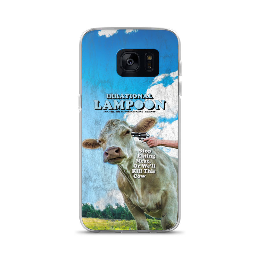 Irrational Lampoon Samsung Case, Stop Eating Meat, or We'll Kill This Cow. Frong Woot