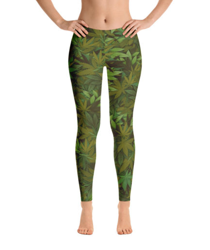 Cannabis - Weed leaf camouflage ladies' leggings - Front view. Frong Woot