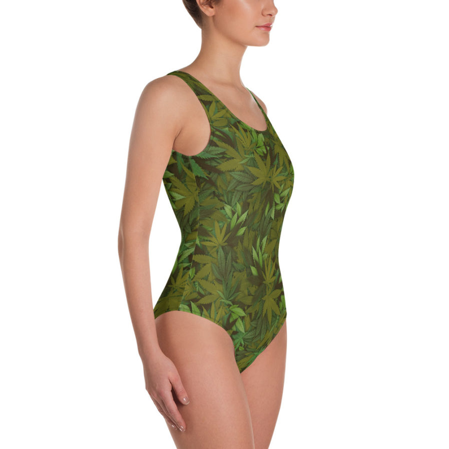 Cannabis - Weed leaf camouflage one-piece swimsuit - side view. Frong Woot