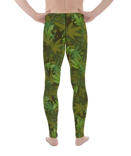 Cannabis - weed leaf camouflage men's leggings. Back view