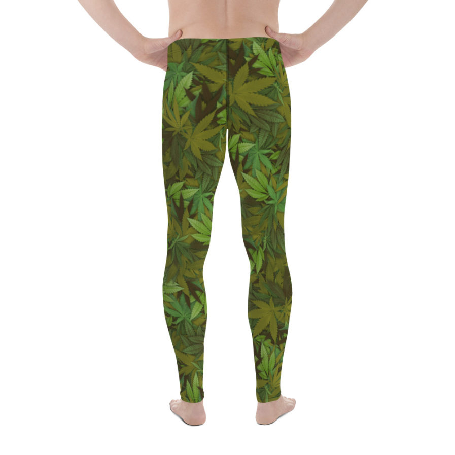 Cannabis - weed leaf camouflage men's leggings. Back view