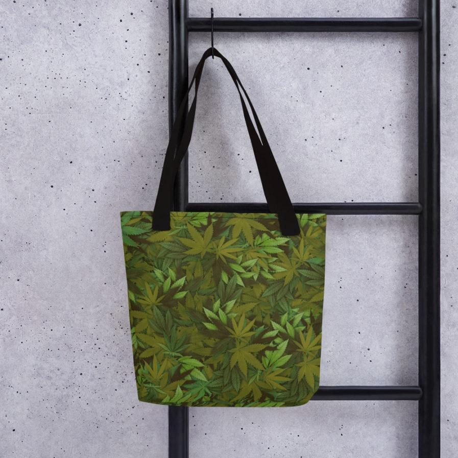Marijuana camouflage Leaf tote bag. Frong Woot
