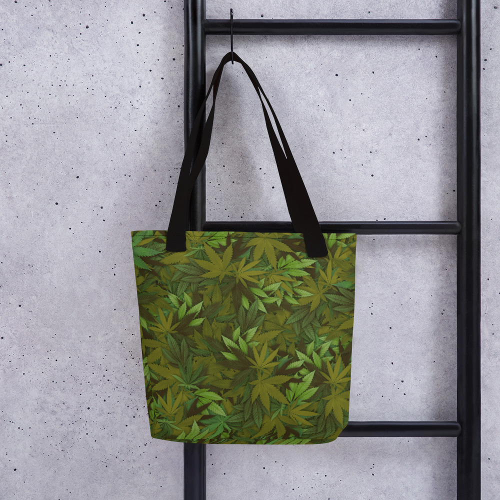 Marijuana camouflage Leaf tote bag. Frong Woot