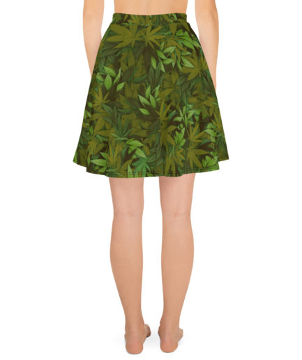 Cannabis - Weed leaf camouflage skater skirt - Back view.