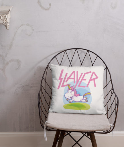 Slayer Unicorn Pillow - Front View. Frong Woot