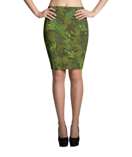 Marijuana leaf camouflage pencil skirt - Front view.
