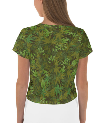 Cannabis - weed leaf camouflage crop tee - Back