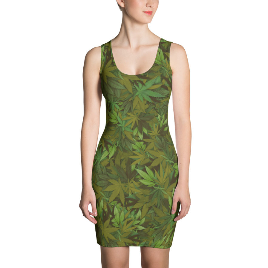 Cannabis - Weed leaf camouflage cut and sew dress - Front view. Frong Woot