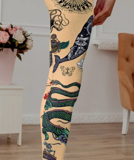 Woman's tattooed leggings in skin color.