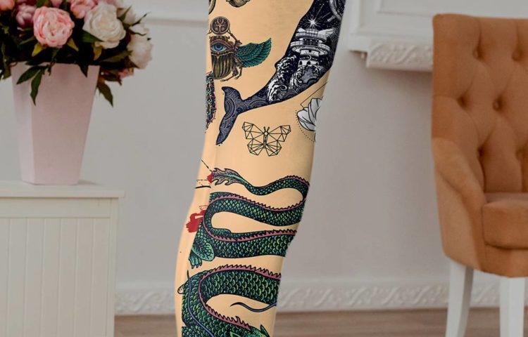 Woman's tattooed leggings in skin color.