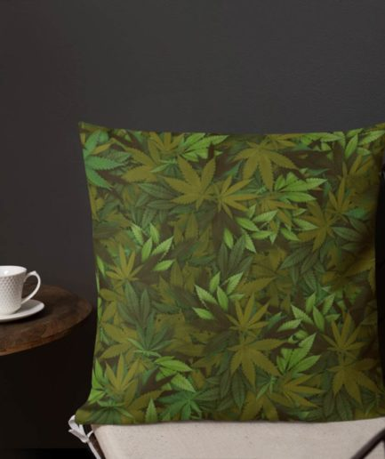 Marijuana Camouflage Leaf Square Pillow. Frong Woot