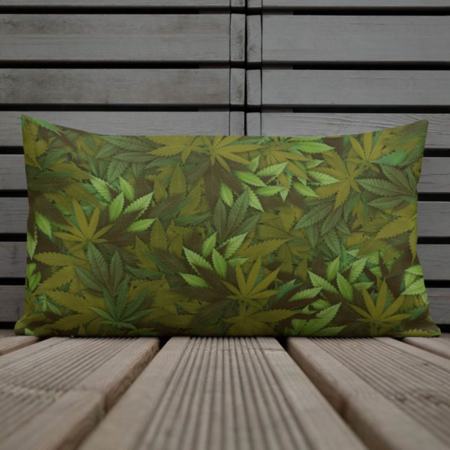 Marijuana Camouflage Leaf Pillow. Frong Woot
