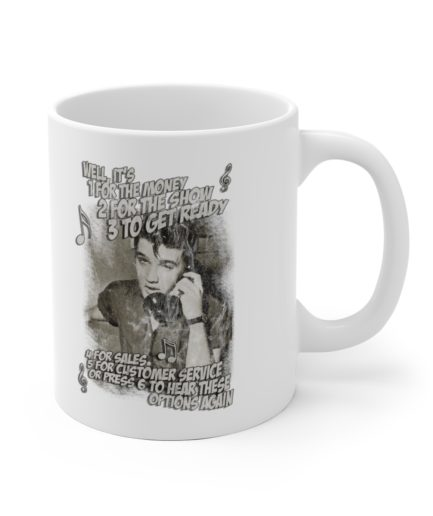 Elvis Presley customer service support training mug